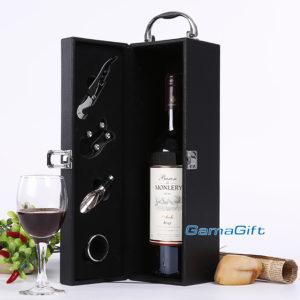 Луксозна кожена кутия за вино с аксесоари за продажба на едро