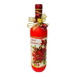 Коледна бутилка вино с декорация , склад за сувенири, сувенири на едро , български сувенири, подаръци, софия, коледни сувенири, онлайн, сувенири софия