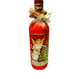 Коледна бутилка вино с декорация - Ангелче , склад за сувенири, сувенири на едро , български сувенири, подаръци, софия, коледни сувенири, онлайн, сувенири софия