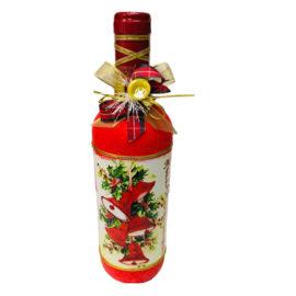 Коледна бутилка вино с декорация - Камбанки , склад за сувенири, сувенири на едро , български сувенири, подаръци, софия, коледни сувенири, онлайн, сувенири софия