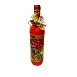 Коледна бутилка вино с декорация с надпис , склад за сувенири, сувенири на едро , български сувенири, подаръци, софия, коледни сувенири, онлайн, сувенири софия
