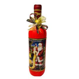 Коледна бутилка вино с декорация, склад за сувенири, сувенири на едро , български сувенири, подаръци, софия, коледни сувенири, онлайн, сувенири софия