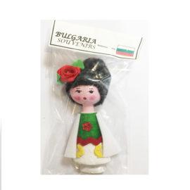 Битова национална кукла с носия-магнит, национални кукли, битови сувенири, склад, на едро, традиционни български сувенири на едро , онлайн, София, Пловдив, Варна