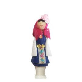 Битова национална кукла с носия и фиолка - момиче, национални кукли, битови сувенири, склад, на едро, традиционни български сувенири на едро , онлайн, София, Пловдив, Варна