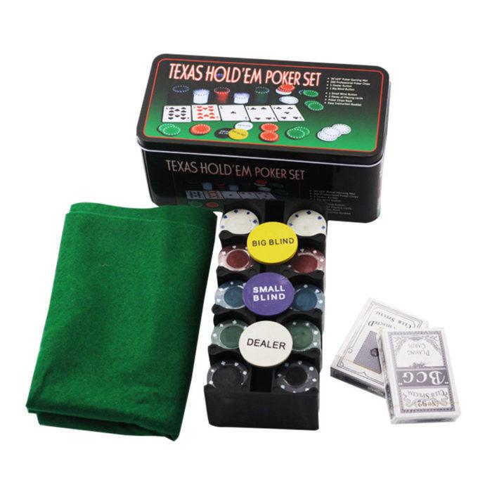 Покер комплект с 200 чипа, 2 тестета карти и покривка4